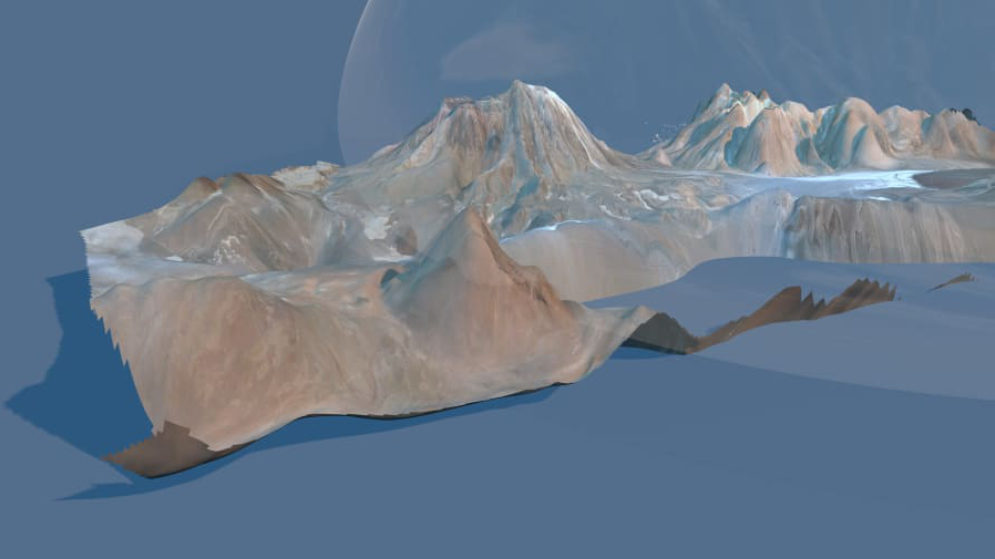 Computer generated mountain and glacial landscape in grey, brown and blue tones.