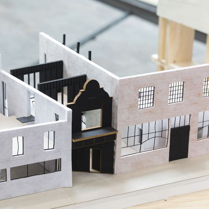 A model of building facades on a street